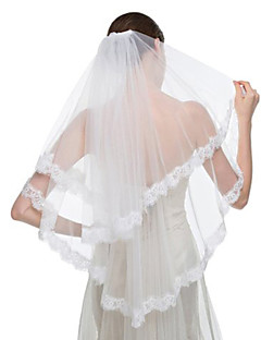 Wedding Veil Two-tier Fingertip Veils / Veils for Short Hair Lace Applique Edge Tulle / Lace White / Ivory