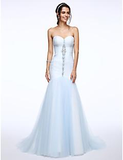 Lanting Bride® Fasciante Abito da sposa Strascico di corte A cuore Tulle con Perline / Con ruche