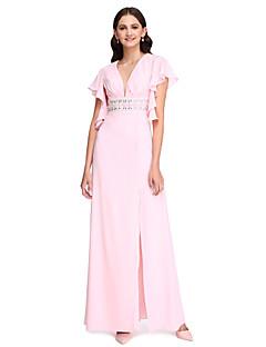 2017 Lanting bride® podlahy Délka šifónové furcal / krásný zpět družička šaty - výstřih s korálky