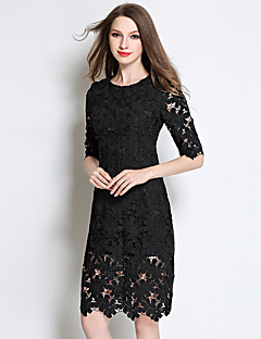 Women's Going out / Holiday Simple / Sophisticated Bodycon DressFloral Round Neck Above Knee