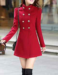 Women's Cute Trench Coat,Solid Stand Long Sleeve Fall Red / Green Others Medium