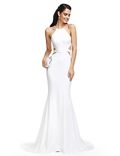 2017 TS Couture® Formal Evening Dress Trumpet / Mermaid Spaghetti Straps Court Train Jersey with Sash / Ribbon
