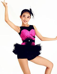 Jazz Outfits Women's / Children's Performance Spandex / Paillettes / Flower(s) / Ruffles / Sash/Ribbon / Sequins3