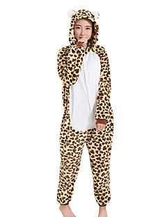 Kigurumi Pyjamas Mat Sort Festival/Højtider Nattøj Med Dyr Halloween Brun Leopard Fløjl Mink Kigurumi Til Mand Kvindelig UnisexHalloween