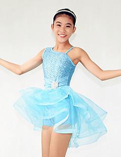Danse classique Robes Femme Enfant Spectacle Elasthanne Polyester Paillété Volants 2 Pièces Sans manche Taille moyenne Robe Coiffures