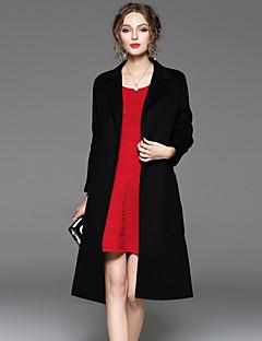Damen Solide Einfach Formal Mantel,Herbst / Winter Steigendes Revers Langarm Schwarz / Grün Undurchsichtig Wolle