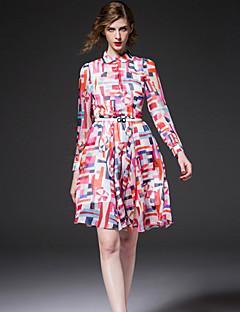 frmz Ausgehen nette Mantel dresscolor Block Hemdkragen über dem Knie lange Ärmel rosa Polyester Feder