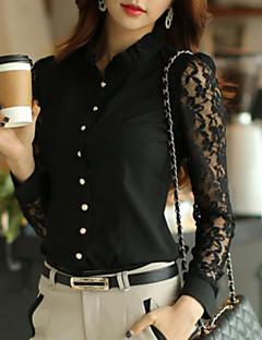 Enfärgad Långärmad Skjorta Kvinnors Pipkrage Polyester