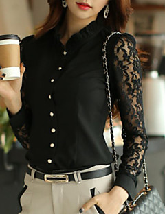 JISNEYWomen's Solid White Shirt,Shirt Collar Long Sleeve