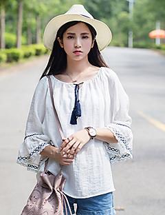 Blusa Da donna Casual Romantico Primavera / Autunno,Collage Rotonda Cotone / Poliestere Blu / Bianco Maniche a ¾ Medio spessore