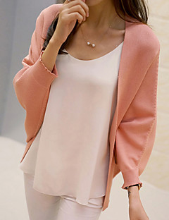 Women's Casual/Daily Vintage / Cute Regular CardiganSolid Pink / Red / Multi-color Cowl Long Sleeve