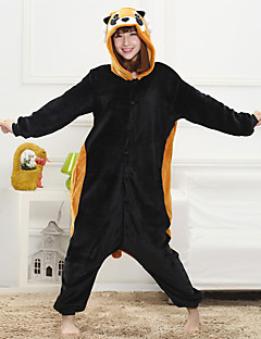 Unisex Cashmere / Polyester Cute Cartoon One-piece Pajama Winter Thick Sleepwear Black