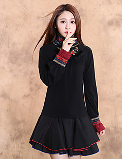 Our Story  Going out Vintage Spring / Fall T-shirtEmbroidered Turtleneck Long Sleeve Black Cotton / Spandex Medium