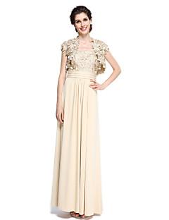 2017 Lanting mãe bainha / coluna bride® do vestido de noiva - elegante tornozelo-comprimento da manga curta chiffon / rendas