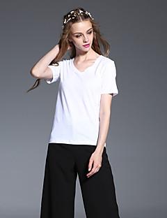 frmz kvinders afslappet / daglig simple sommer t-shirtsolid v hals kortærmet hvid bomuld uigennemsigtig
