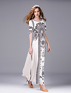 Boutique S Women's Going out Sophisticated Sheath DressPrint Round Neck Maxi Short Sleeve White Polyester Summer