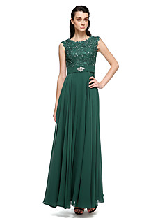 Formal Evening Dress - Ball Gown Scoop Floor-length Chiffon / Lace / Charmeuse with Beading / Lace / Pearl Detailing