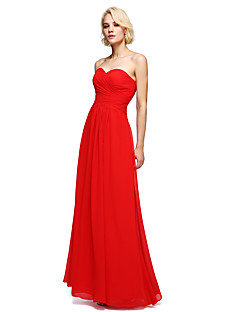 Lanting Bride® Floor-length Chiffon Bridesmaid Dress Sheath / Column Strapless with Criss Cross