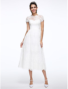 LAN TING BRIDE A-line Wedding Dress Little White Dress Tea-length High Neck Lace with Appliques