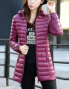 Famous Brand Design Women's Long Padded CoatSimple Casual/Daily Solid-Polyester Polyester Long Sleeve Hooded Red / Black