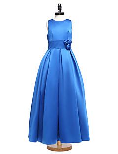 Lanting Bride® Floor-length Satin Junior Bridesmaid Dress Ball Gown Jewel with Sash / Ribbon / Flower(s)