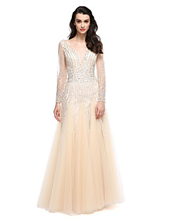 TS Couture Prom Formal Evening Dress - Elegant A-line V-neck Floor-length Tulle with Beading