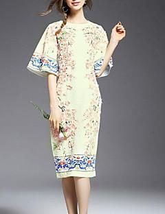 Hülle Kleid-Lässig/Alltäglich Einfach Druck Rundhalsausschnitt Knielang ½ Länge Ärmel Weiß Andere Sommer Mittlere Hüfthöhe