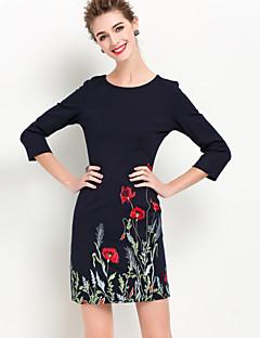 קיץ אחרים שחור אורך שרוול ¾ מעל הברך צווארון עגול רקמה מתוחכם ליציאה שמלה נדן נשים,גיזרה בינונית (אמצע) קשיח בינוני (מדיום)