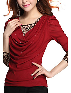 Women's Plus Size/Going out/Casual/Daily Street chic Spring/Fall T-shirt Leopard/Patchwork Round Neck Long Sleeve