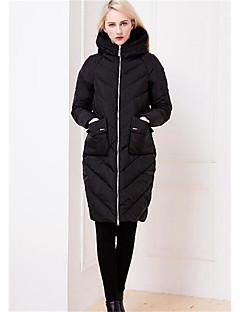 コート ロング ダウン 女性,カジュアル/普段着 ソリッド コットン ポリプロピレン-シンプル 長袖 フード付き レッド / ブラック