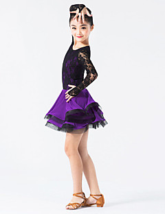 ריקוד לטיני שמלות בגדי ריקוד ילדים ביצועים ניילון / ספנדקס / תחרה תחרה / קפלים חלק 1 שרוול ארוך טבעי שמלותXXXS:54 XXS:59 XS: 64 S:69 L:74