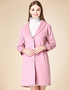 Women's Casual/Daily Simple Coat,Solid Notch Lapel Long Sleeve Winter Red Cotton Medium