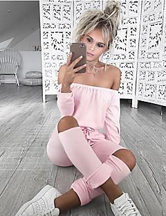 Damen Extraklein Schlank Overall-Lässig/Alltäglich / Sport Sexy einfarbig Boot-Ausschnitt Lange Ärmel Mittlere HüfthöheBaumwolle /