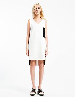 Kadın Dışarı Çıkma Sade Siyah ve Beyaz Elbise Zıt Renkli,Kolsuz V Yaka Diz üstü Beyaz Pamuklu Bahar Normal Bel Streç Orta