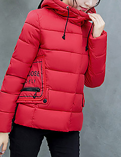 Women's Regular Padded  Solid-Polyester Polypropylene Long Sleeve Hooded Pink / Red / White / Black / Gray / Gold