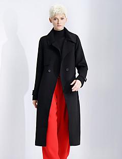 Damen Solide Einfach Ausgehen / Lässig/Alltäglich Mantel,Winter Gekerbtes Revers Langarm Schwarz Dick Wolle