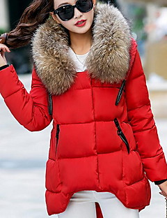Women's Regular Padded Coat,Street chic Casual/Daily Solid-Faux Fur / Polyester Polyester Long Sleeve HoodedBlue / Pink / Red / Beige /