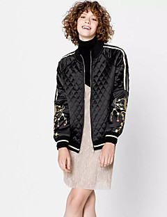 Women's Going out / Casual/Daily / Club Sexy / Simple / Street chic Jackets,Solid Stand Long Sleeve Spring / Fall Black Polyester Thin