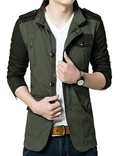קולור בלוק צווארון חולצה פשוטה / פעיל ליציאה / יום יומי\קז'ואל ז'קט גברים,חום / ירוק שרוול ארוך סתיו / חורף בינוני (מדיום)כותנה / אקריליק