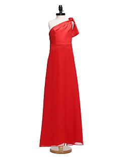 Hasta el Suelo Raso Vestido de Dama de Honor Junior Funda / Columna Sobre un Hombro con Lazo(s)