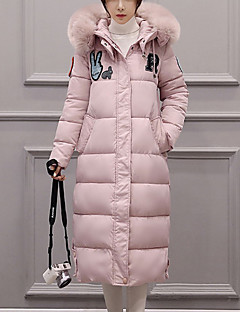 Women's Long Padded CoatStreet chic Casual/Daily Solid-Polyester Polypropylene Long Sleeve Hooded Pink /White /Black /Gray /Green Winter