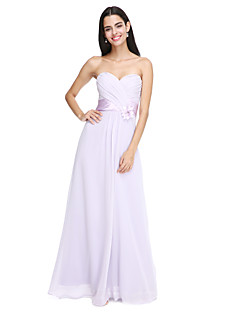 2017 Lanting Bride® Floor-length Chiffon Elegant Bridesmaid Dress - Spaghetti Straps withFlower(s)