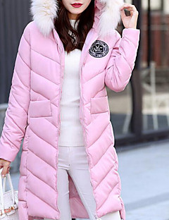 Women's Long Down Coat,Simple Going out / Casual/Daily Solid-Polyester White Goose Down Long Sleeve Hooded Pink / Red / White / Black