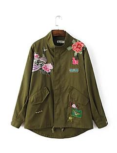 Damen Stickerei Boho Lässig/Alltäglich Jacke,Herbst Hemdkragen Langarm Grün Mittel Baumwolle