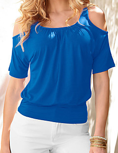 Women's Plus Size / Casual/Daily Simple Summer T-shirt,Solid Round Neck ½ Length Sleeve Blue / Red / White / Black / Yellow Cotton Thin