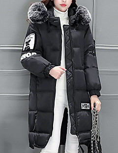 Women's Long Padded Coat,Cute / Street chic Casual/Daily / Formal Solid-Polyester Cotton Long Sleeve Hooded Pink / Black / Gray / Green
