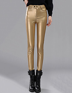 Women's Solid Black /Gold /Silver Plus Velvet Thickening Skinny Pants Sexy Casual High Waist Slim Thin Winter PU