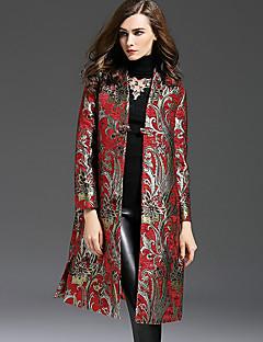 Damen Stickerei Retro Lässig/Alltäglich Trenchcoat,Herbst / Winter V-Ausschnitt Langarm Rot Mittel Polyester