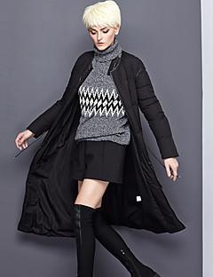 Damen Daunen Mantel,Lang Einfach Ausgehen / Lässig/Alltäglich Solide-Polyester Weiße Entendaunen Langarm Schwarz Rundhalsausschnitt