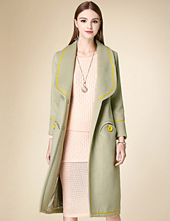 Women's Casual/Daily Simple Coat,Solid Notch Lapel Long Sleeve Winter Green Cotton